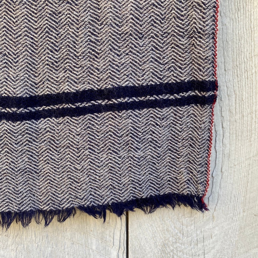 Wool Scarf in Japan Blue Chevron
