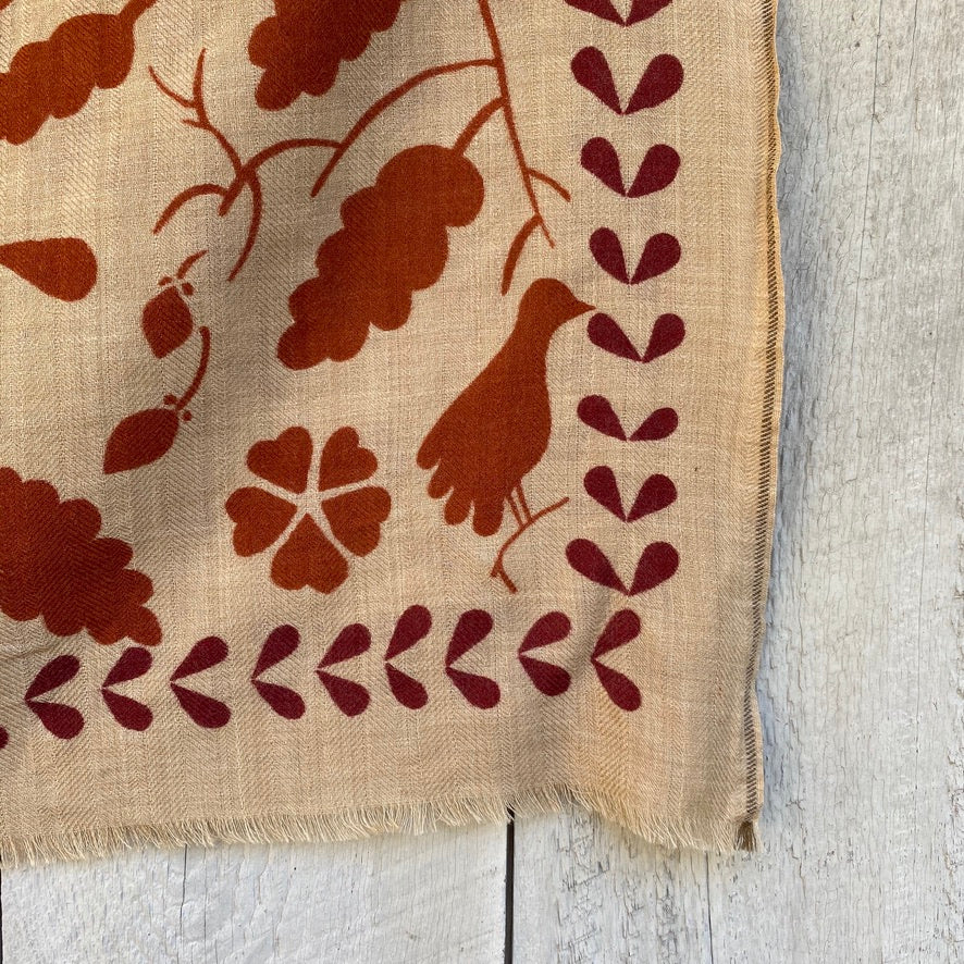 Wool Scarf with Birds & Leaves - Terracotta