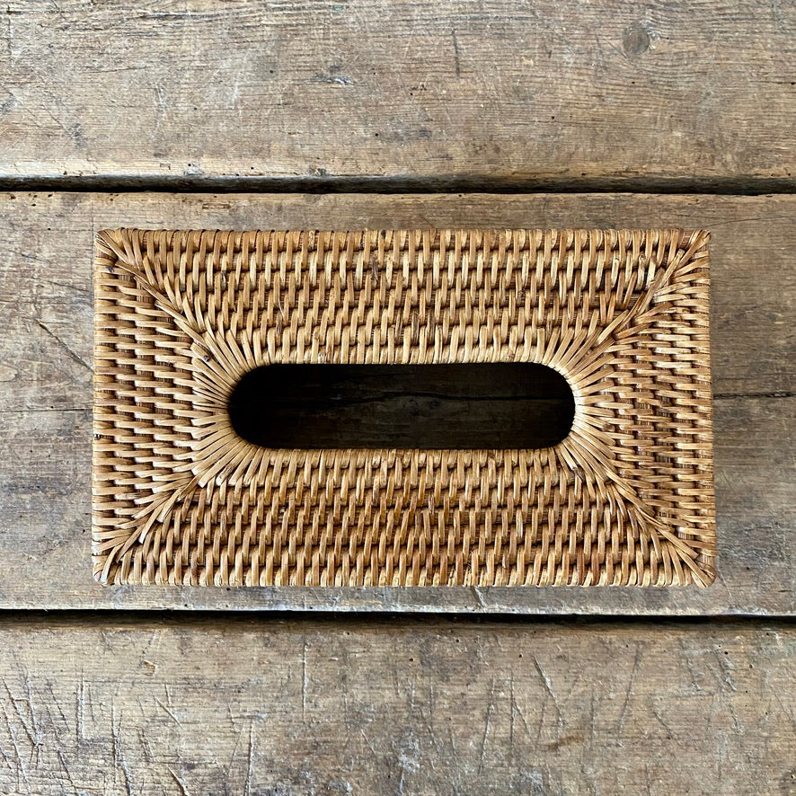 Handwoven Rattan Rectangular Tissue Box