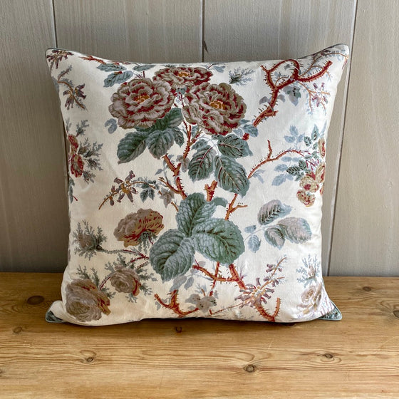 Climbing Rose Chintz Throw Pillow - Red / Gray