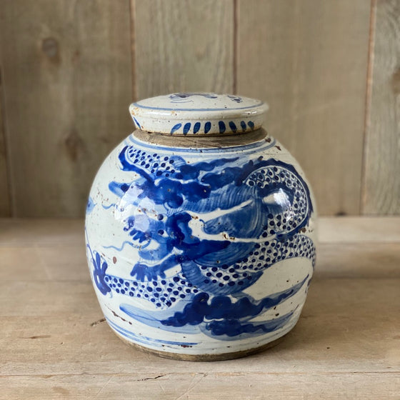 Chinese Porcelain Ginger Jar with Dragon - Medium