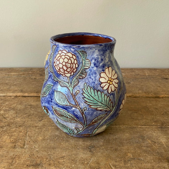 Undulating Blue Vase with Painted Flowers #1