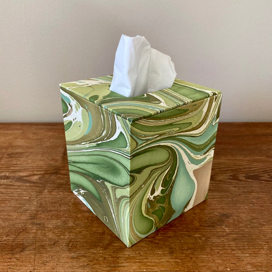 Square Tissue Box - Green Marble