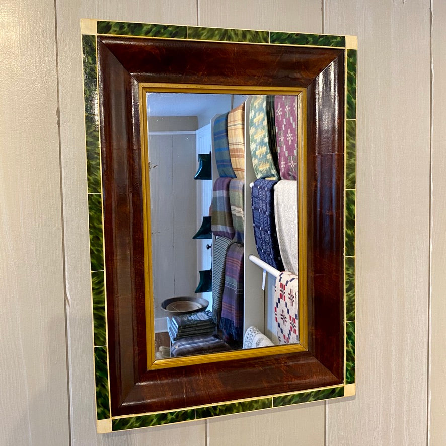 19th Century Ogee Mirror with Faux Green Tortoiseshell & Ivory