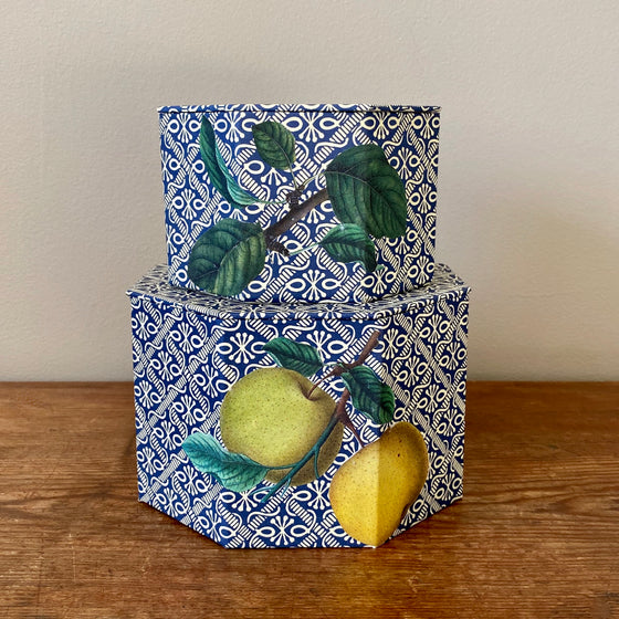 Set of Two Octagonal Apples & Leaves Nesting Boxes