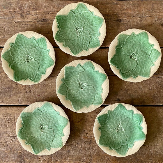Set of Six Antique Gien Majolica Leaf Dessert Plates