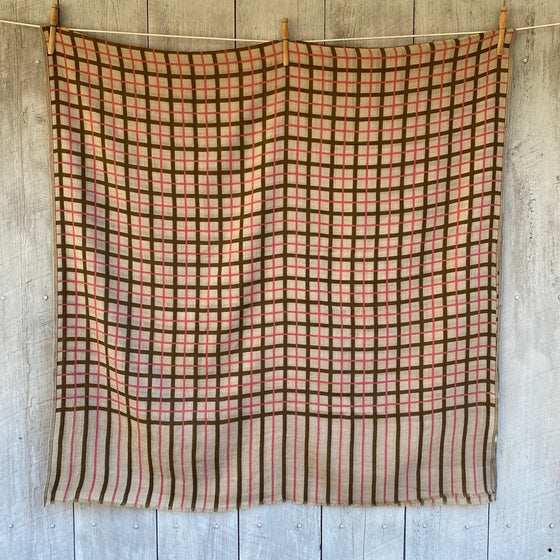 Wool Scarf in Olive & Pink Check