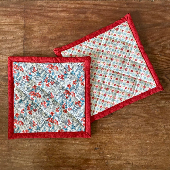 Liberty of London Quilted Potholders - Hollyberry