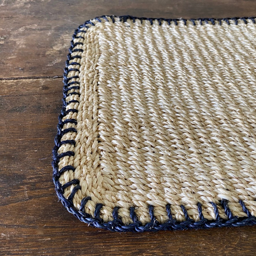 Saddle Stitch Abaca Placemat - Navy
