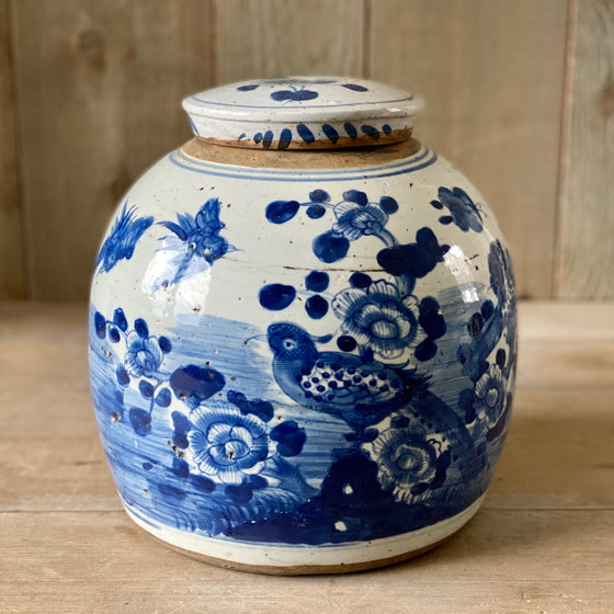 Chinese Porcelain Large Jar with Bird and Flowers