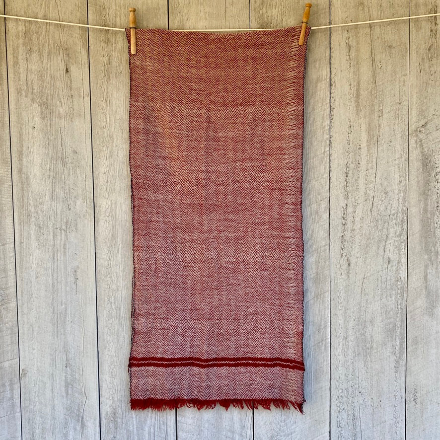 Wool Scarf in Burgundy Chevron