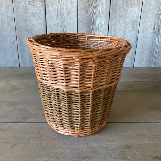 Scottish Round Buff and Green Willow Waste Basket
