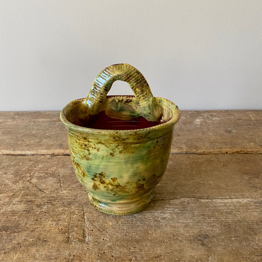 Wall Planter with Green & Olive Glaze