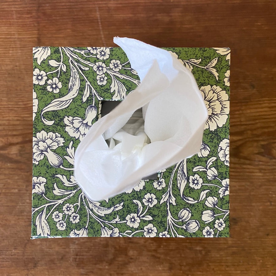 Square Tissue Box - White Flowers on Green Ground