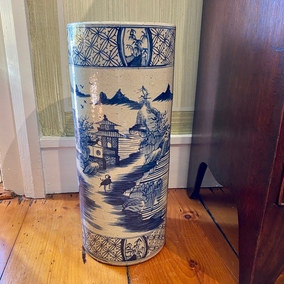 Chinese Porcelain Umbrella Stand with Village Scene