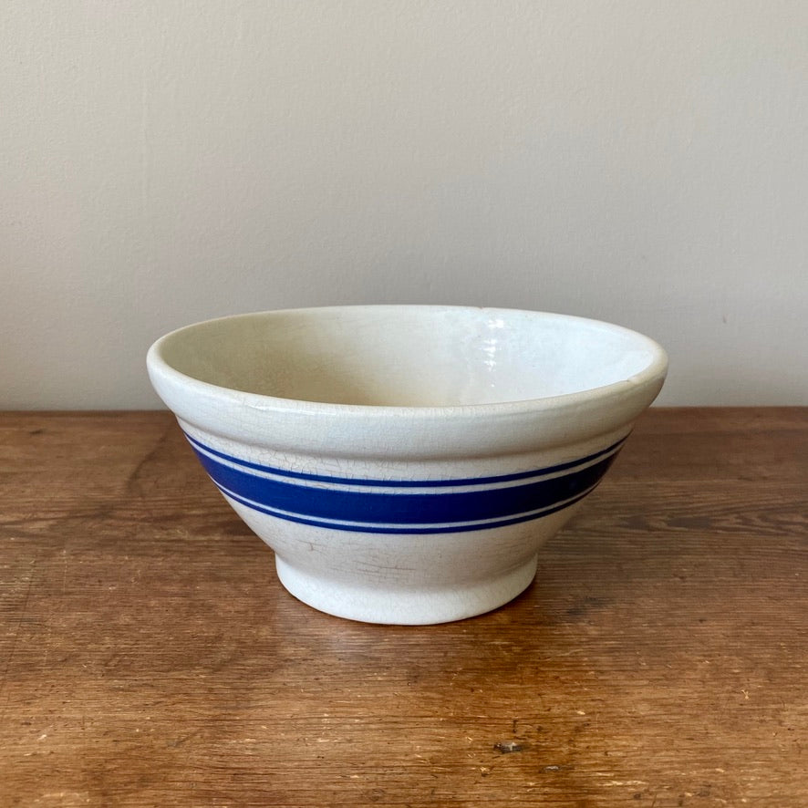 Vintage Blue Banded Mixing Bowl