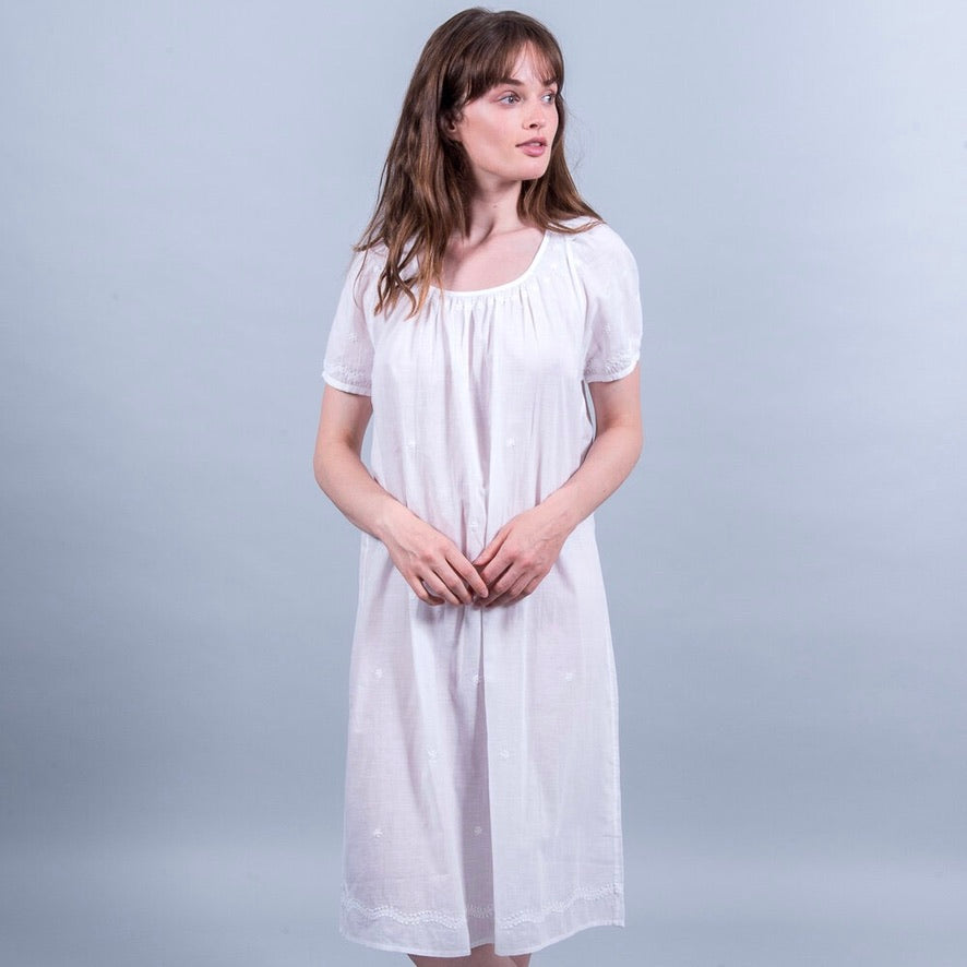 Maria Night Dress with Hand Embroidery