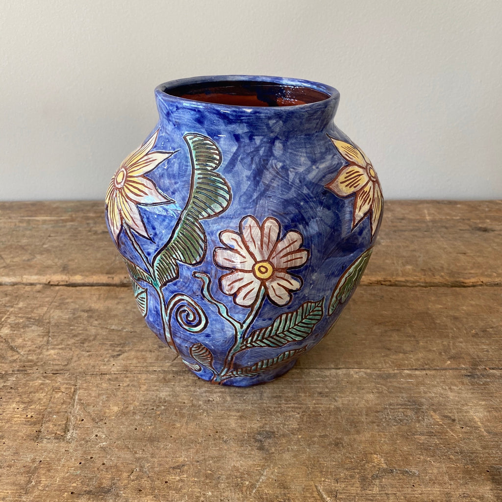 Undulating Blue Vase with Painted Flowers #2