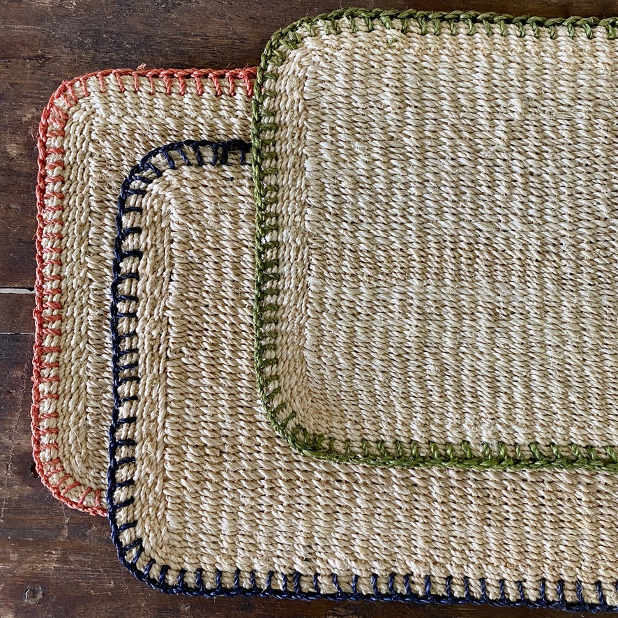 Coral Saddle Stitch Abaca Placemat