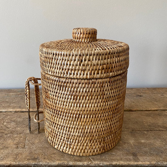 Handwoven Rattan Ice Bucket with Tongs