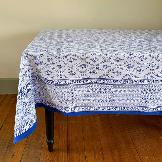 Blue Trellis Hand Block Printed Tablecloth