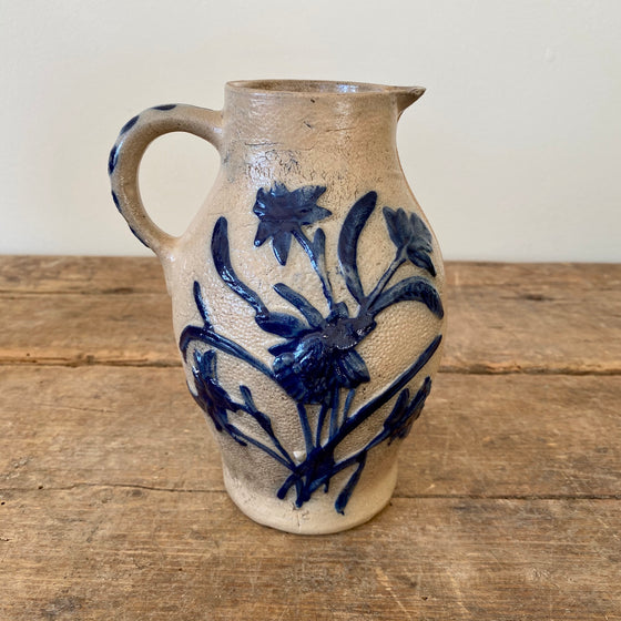 19th Century Floral Stoneware Pitcher