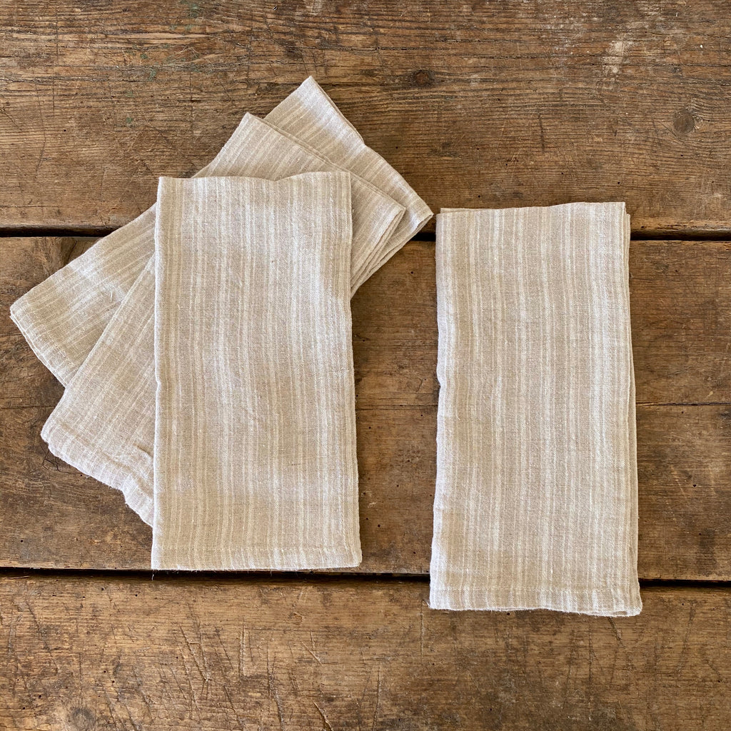 Natural Ticking Stripe Linen Napkins