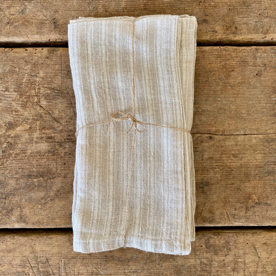 Natural Ticking Stripe Linen Napkins - Set of 4