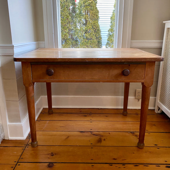 19th Century Pine and Maple Work Table