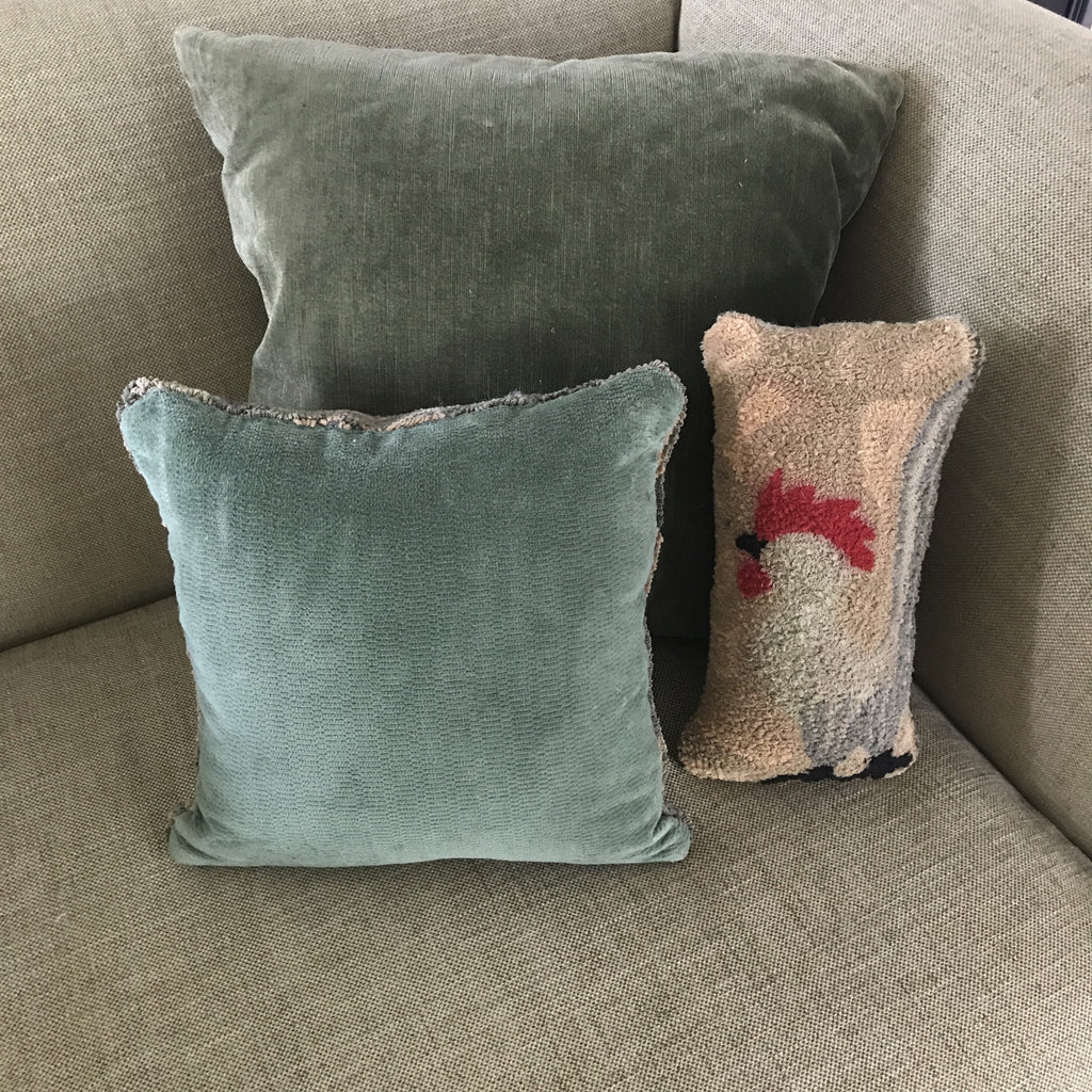 Hooked Rug Rooster Cushions