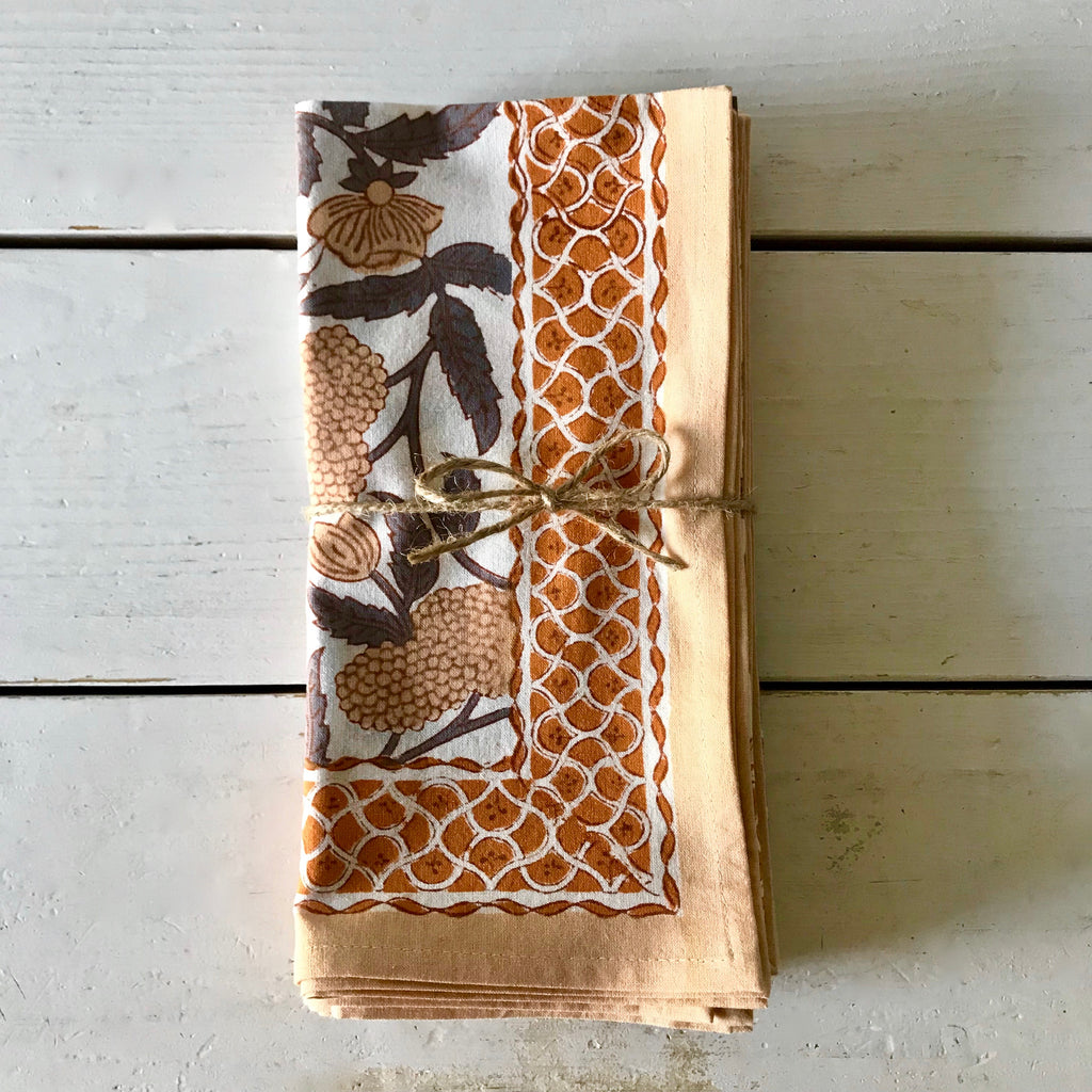 Jallore Orange Hand Block Printed Napkins