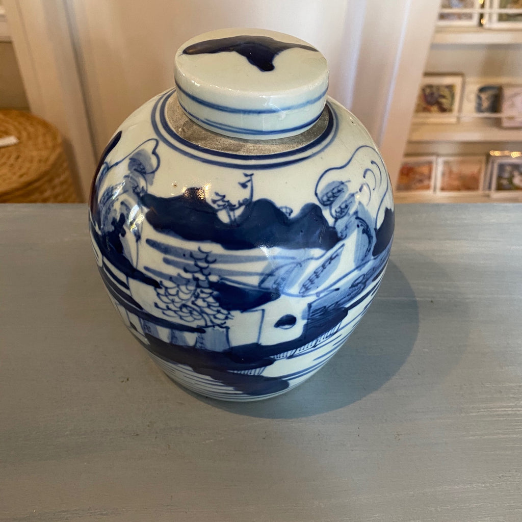 Chinese Porcelain Ginger Jar with Villiage Scene