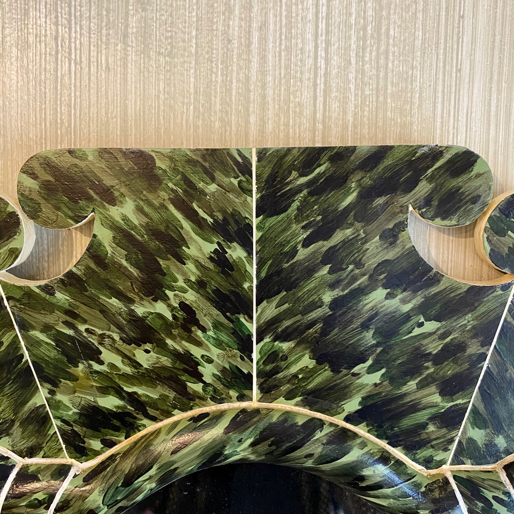 * On Hold * Hand-painted Green Tortoise and Faux Ivory Mirror