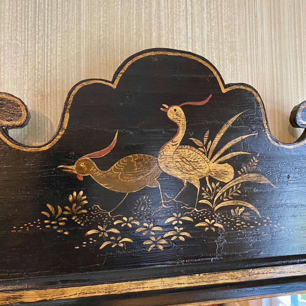 Black Crackle and Gilt Japanned Bird Mirror