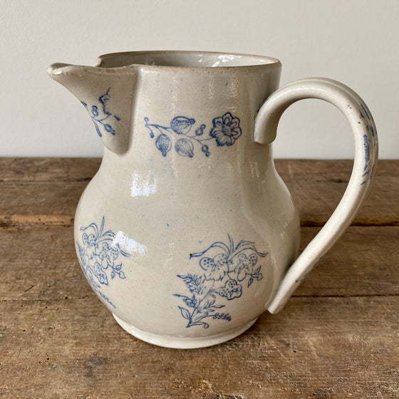 Antique Blue and White French Pitcher