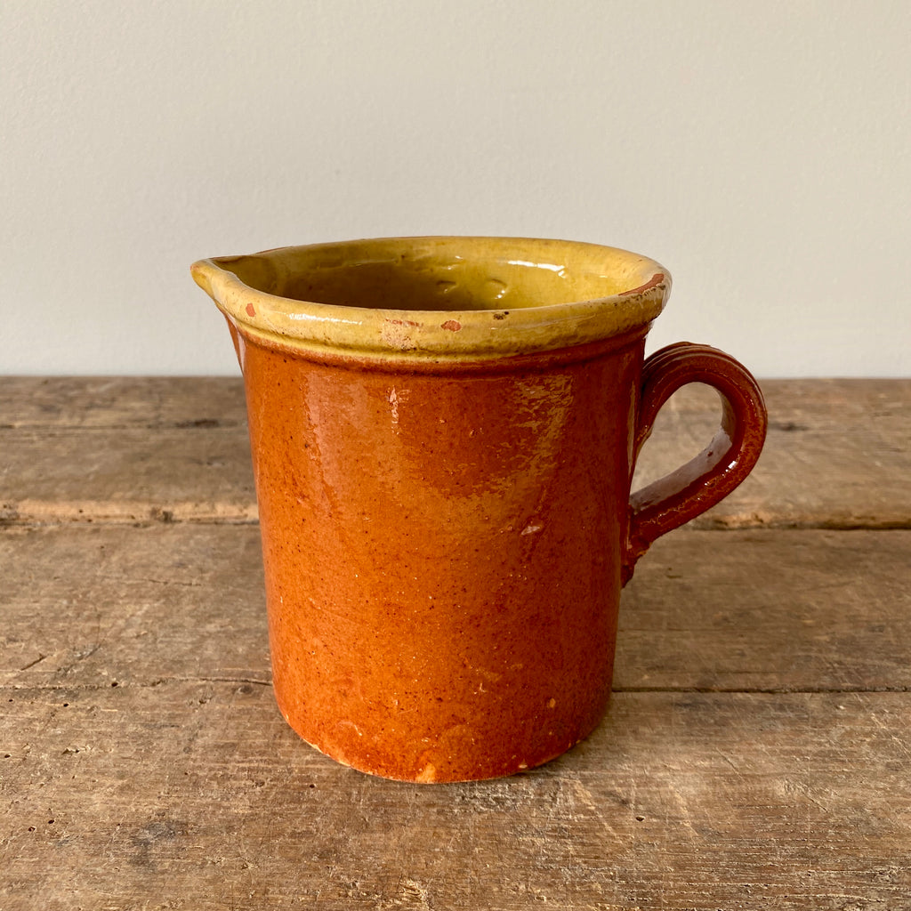 Antique French Redware Pitcher