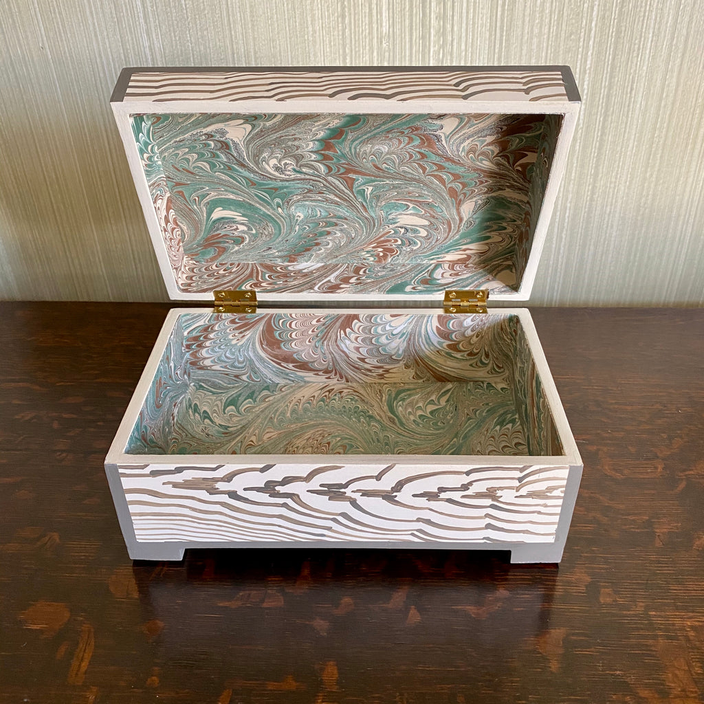 Footed Charcoal Fantasy Faux Bois Keepsake Box