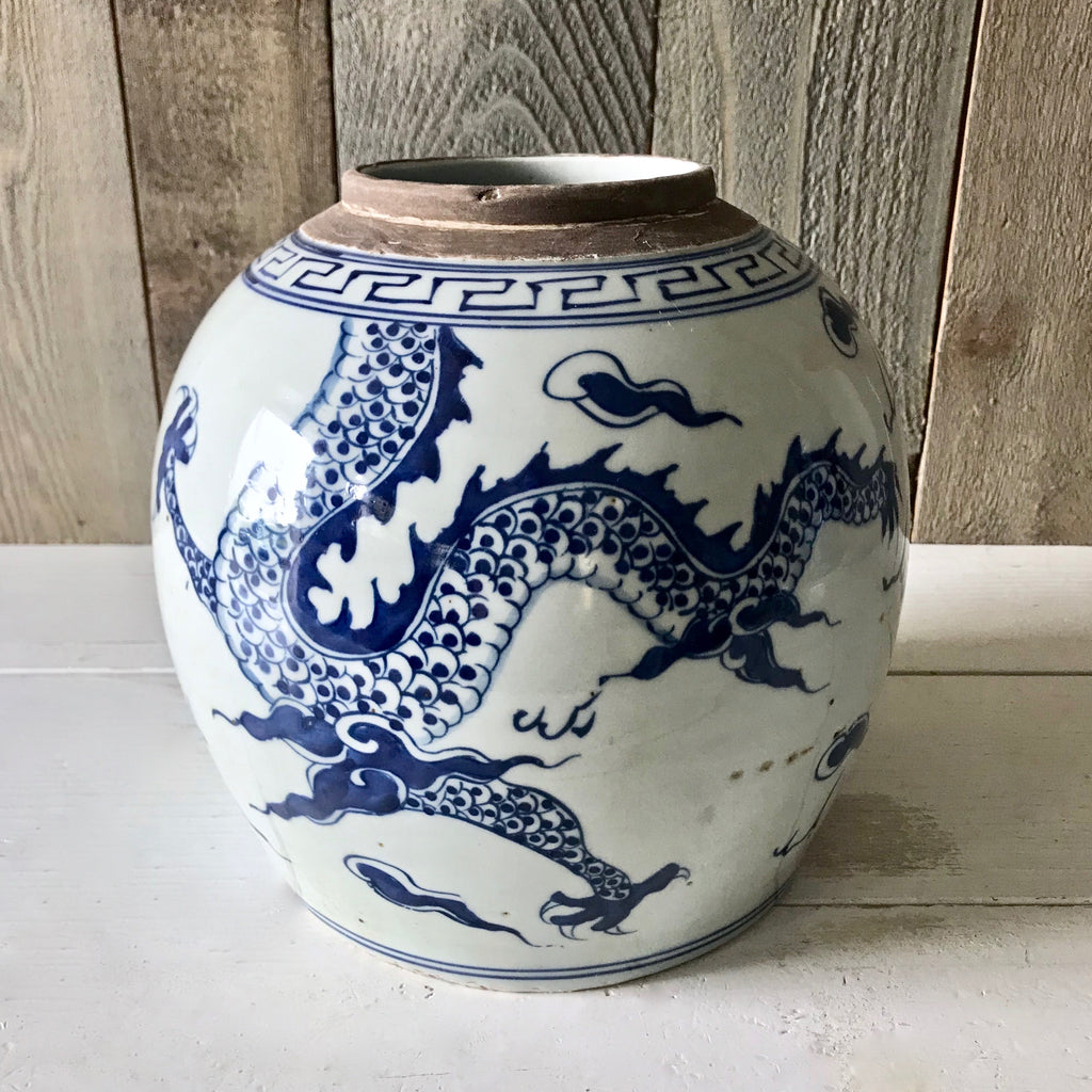 Chinese Porcelain Ginger Jar with Dragon