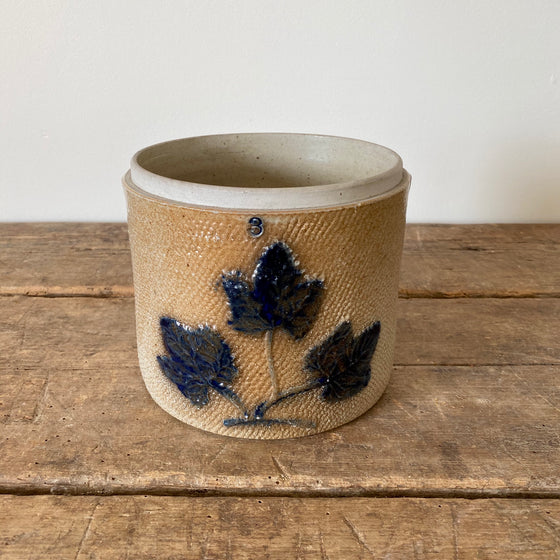Antique Blue Maple Leaf Stoneware Crock