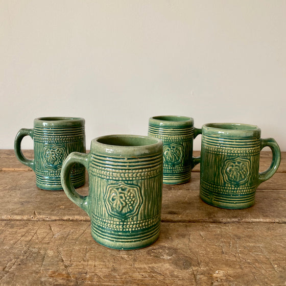 Set of Four Green Glazed McCoy Stoneware Mugs
