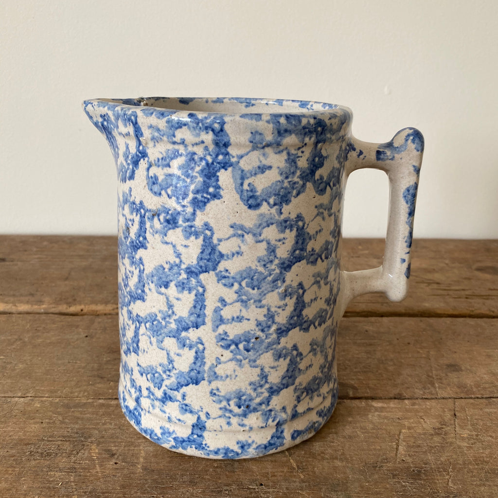 Antique Blue & White Spongeware Milk Pitcher