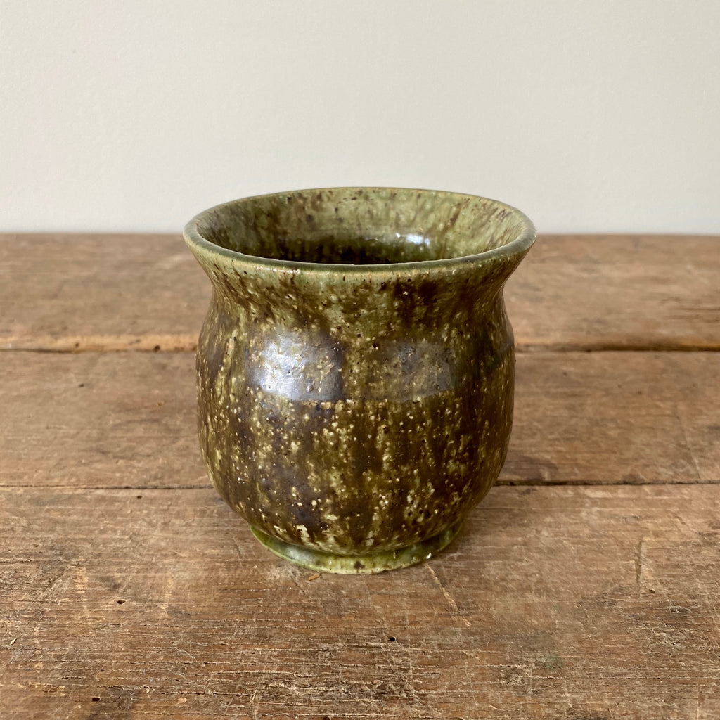 Small Green & Brown Pottery Vase
