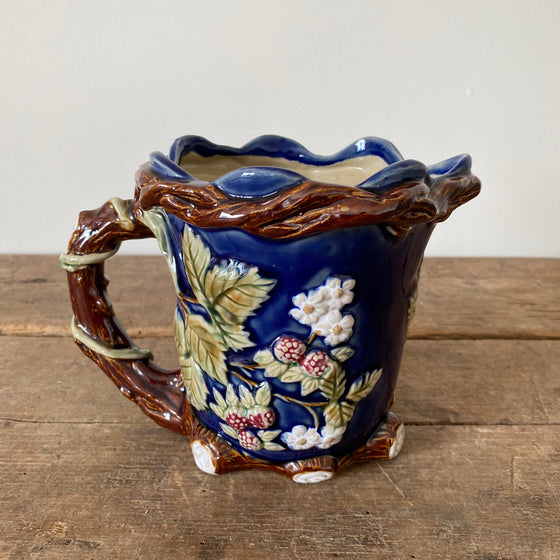 Vintage Blue Pitcher with Raspberries & Vines