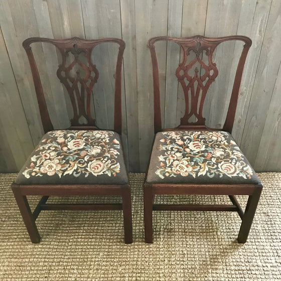 Pair of Antique Georgian Mahogany Side Chairs
