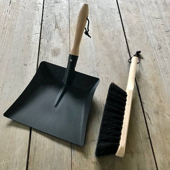 Traditional Metal Dustpan and Horsehair Brush