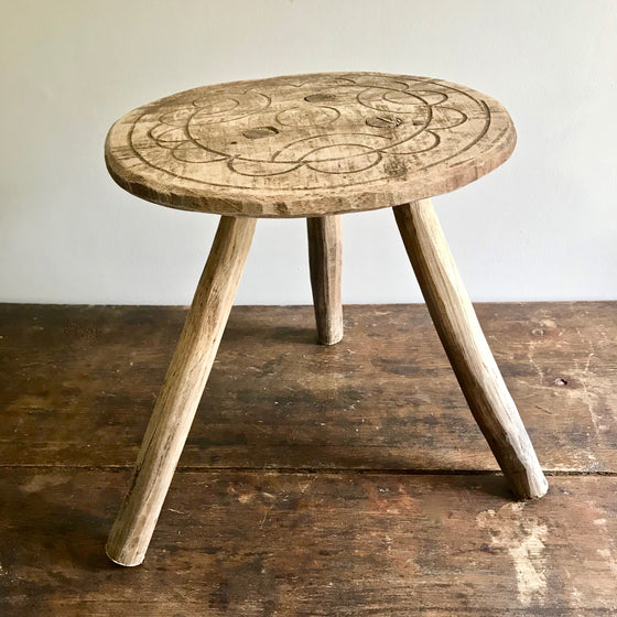 Hand Carved Antique Milking Stool