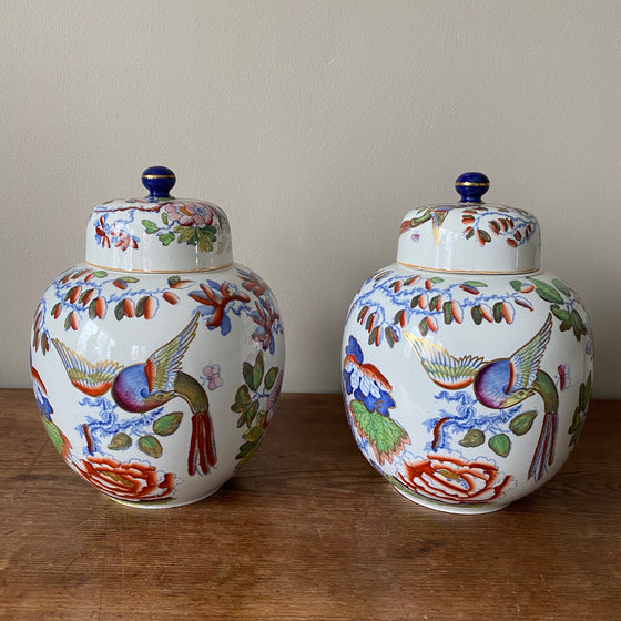 Pair of Antique Ironstone Flying Bird Lidded Jars