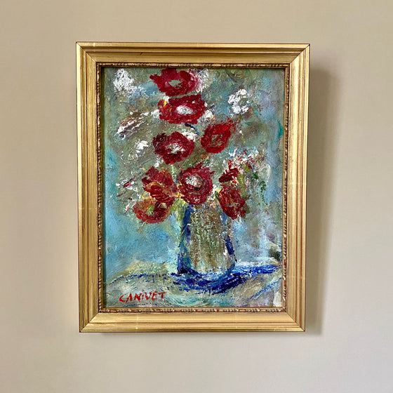 Abstract Painting of Red Flowers in a Vase