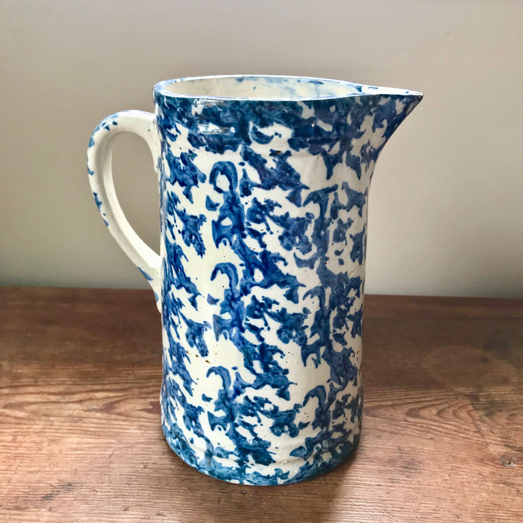 Antique Blue and White Spongeware Pitcher
