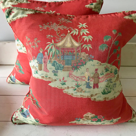 Pair of Chinoiserie Throw Pillows